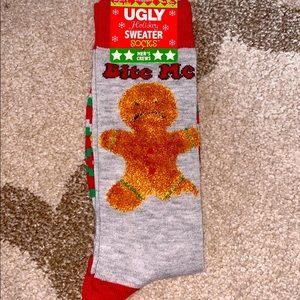 Ugly sweater men's crew socks gingerbread man